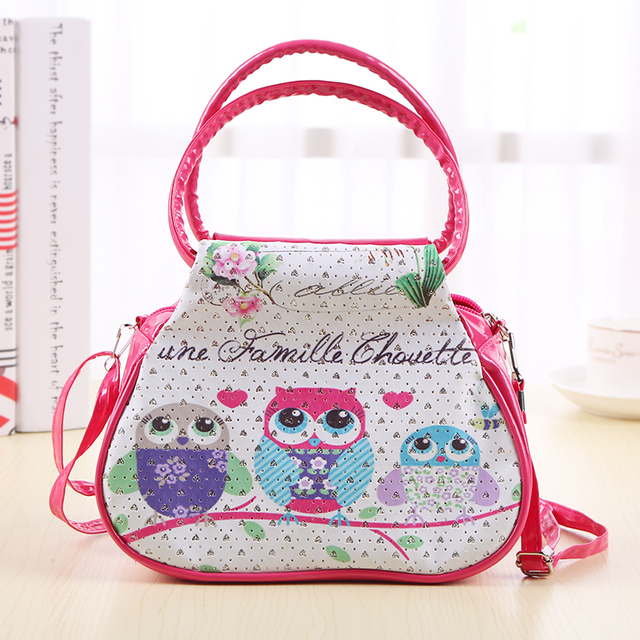 Cartoon Owl Family Printed Women Shoulder Bags Female Purse And Handbags Kids S Mini Handbag Totes