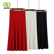 GOPLUS High Waist A-Line Knitted Pleated Skirt Women 2019 New Fashion Thick Winter Solid Midi Skirts Vintage Casual Female