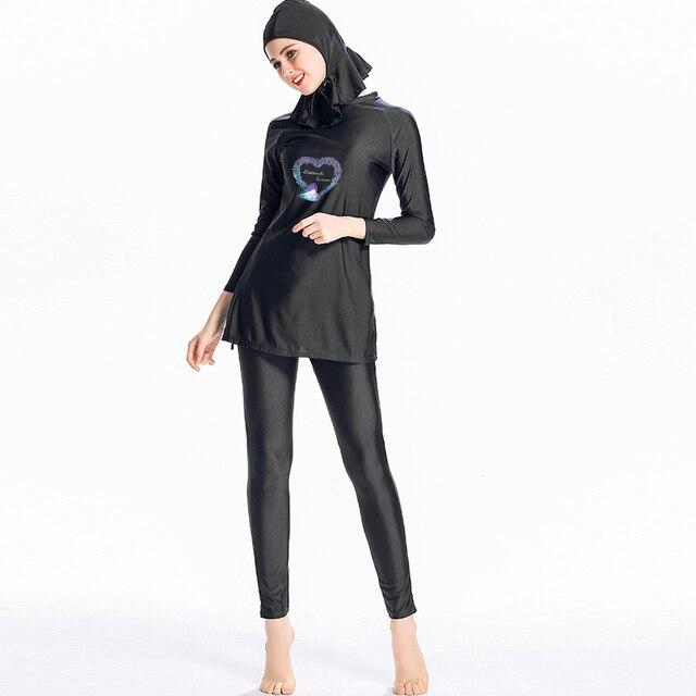 96262cc8cbf Muslim Swimwear Women Plus Size XS-4XL 2018 New Solid Full Coverage Modest  Arab Beach