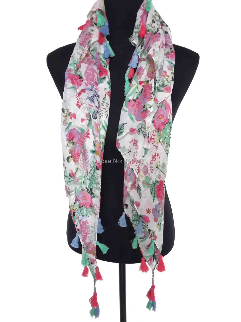 10pcs/lot Floral Flower Print Tassel Scarf Wrap Women's Accessories, Free Shipping