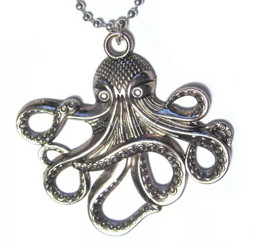 Vintage Silver OCTOPUS Punk Gear EARTH WRENCH Enamel Yin Yang  Sugar Skull Necklace Pendant For Woman Jewelry Accessories Q645