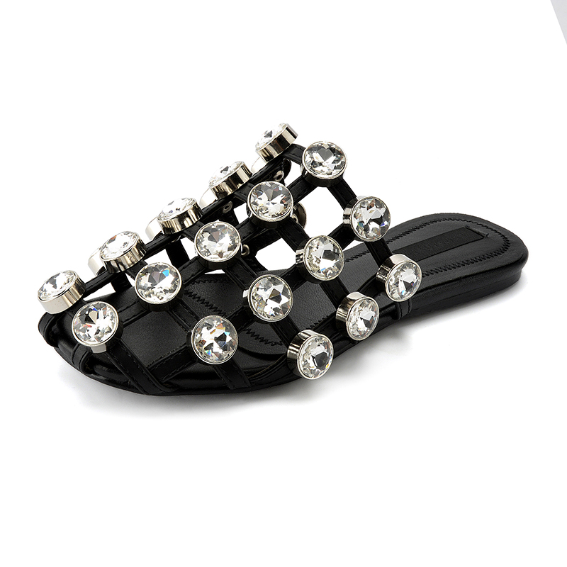 Semana de la moda Celebrity Rhinestones zapatillas mujer sandalias - Zapatos de mujer