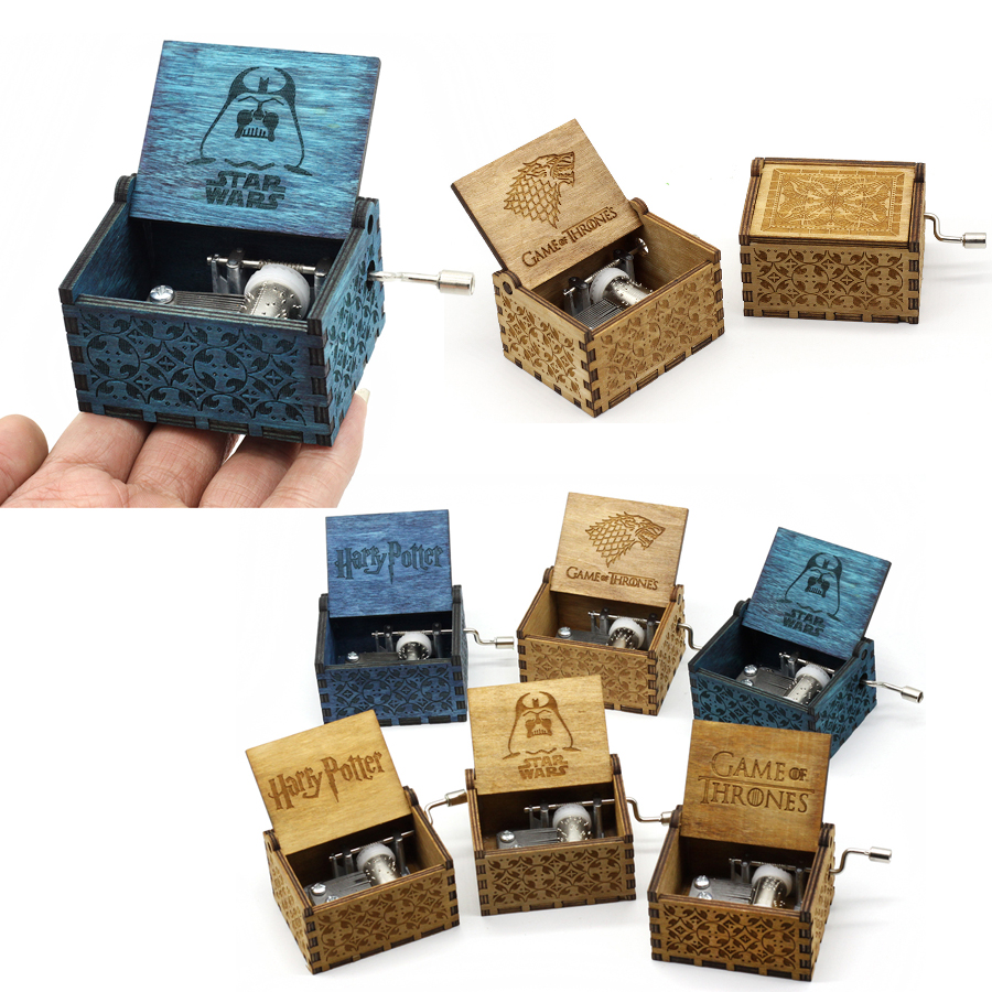 Antico Intagliato Music Box game of thrones harry potter Star Wars Mano di Legno Crank Tema