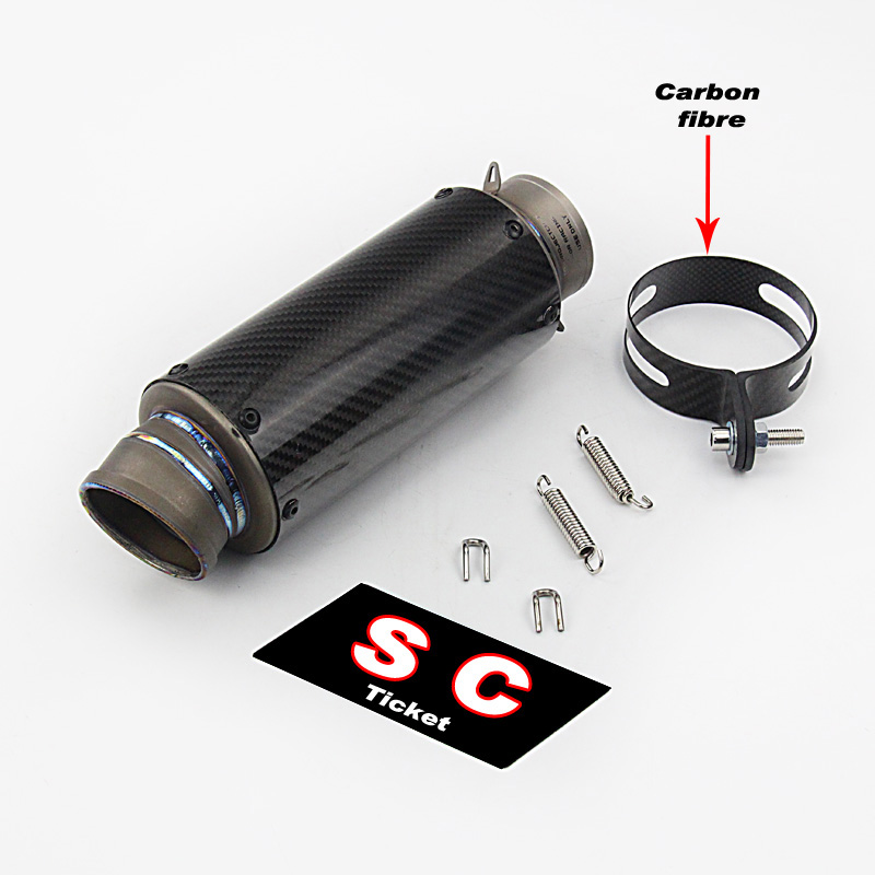 60mm 51mm Motorcycle Exhaust Carbon Fiber SC Muffler Pipe Modified Racing Sport Motorbike SC Laser Sticker S1000RR CBR1000 free shipping carbon fiber id 61mm motorcycle exhaust pipe with laser marking exhaust for large displacement motorcycle muffler