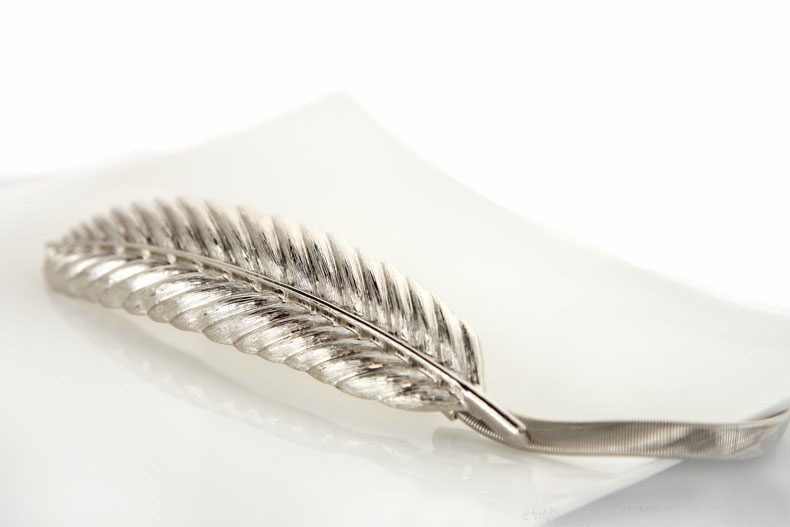 100 шт./лот) женский модный пояс невесты металлический перо из золота и серебра из нержавеющей стали эластичная цепь фирменный дизайн - Цвет: Silver