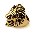 AliLujah Swag Lion Ring Gold Men Ring Stainless Steel Hiphop Animal Jewelry Party Gift US SIZE 7-14 JZR016
