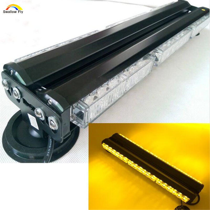 ФОТО DC12V Both sides 6*6 LED Yellow White long Car Truck LED Emergency Strobe Light Rescue Vehicle Lamp police Warning Lighting