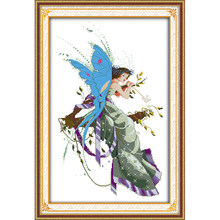 The young girl's mood fairy cartoon Counted Cross Stitch set 14CT DIY Chinese Cross-stitch Kit Embroidery Needlework child room(China)