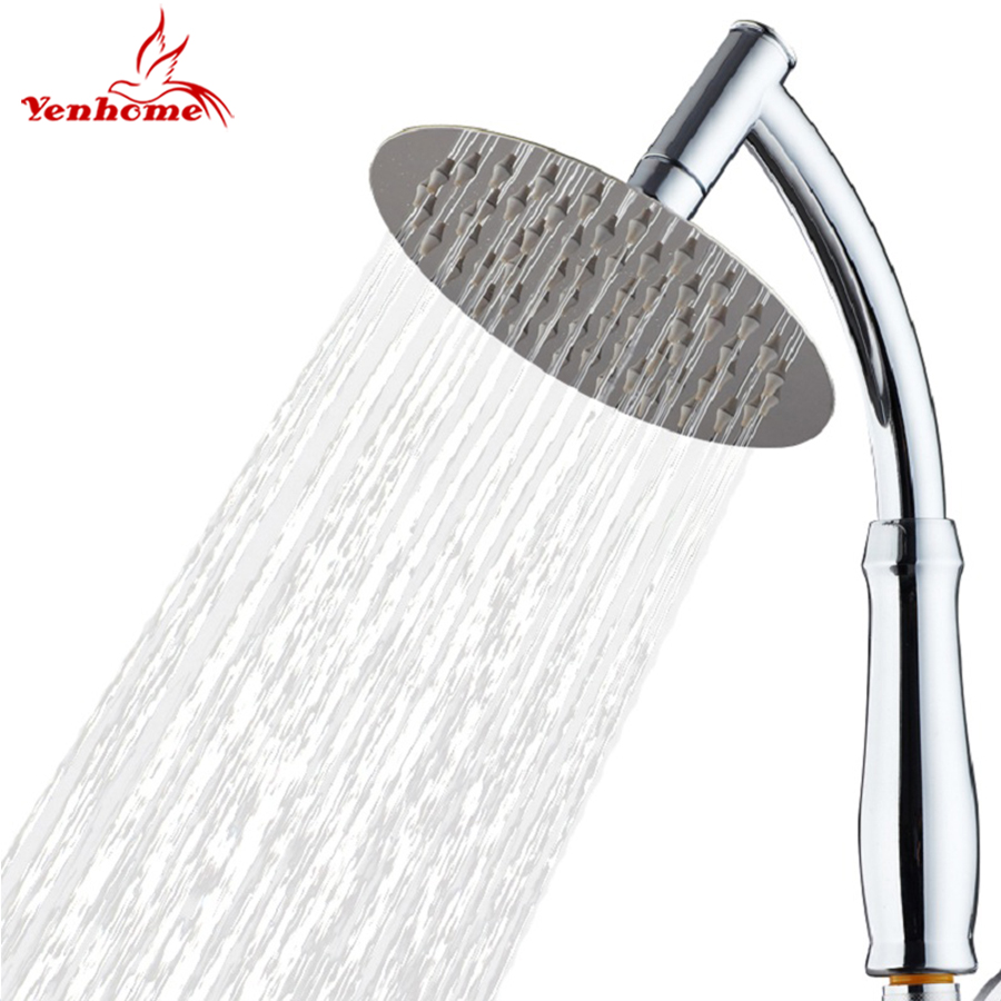 8 inch Large Handheld Shower Head Bathroom Showers 360 Rotate Stainless Steel Sprayer Rainfall Shower Head with Holder and Hose
