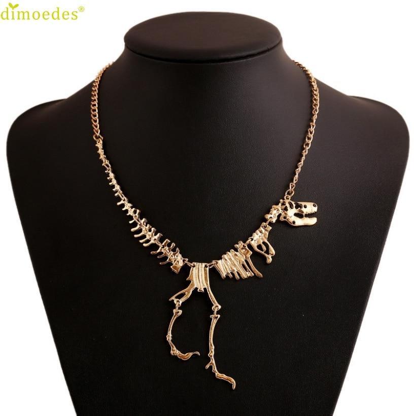 Diomedes Newest Necklace Women Steampunk Goth Alloy Dinosaur Skeleton Dead Tyrannosaurus T-Rex Charm Necklace Sexy Chain