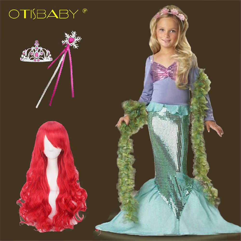 9912cdc08 Children's Little Mermaid Princess Dress for Girl Clothing Child Girls  Summer Beach Party Dress + Headband