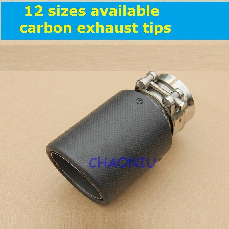 12 sizes carbon fiber 10 pcs car exhaust tip Universal Carbon Fiber Car Exhaust Pipe Tail