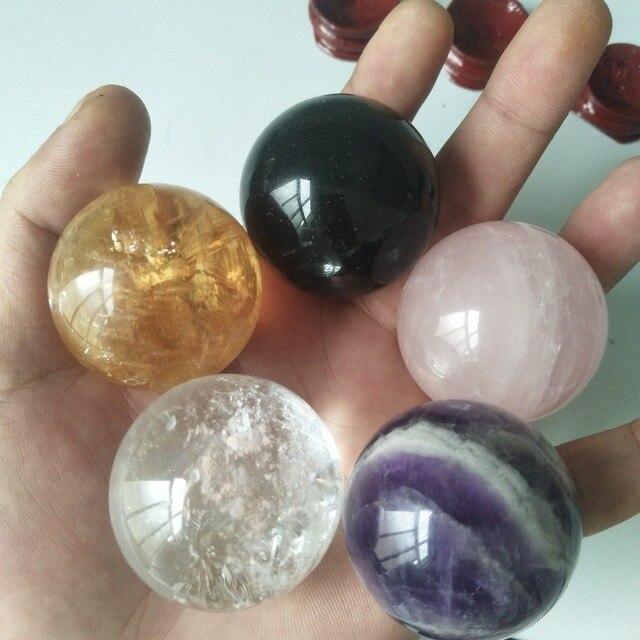 Boules de cristal en quartz naturel, cristaux de guérison, calcite + cristal de rose + améthyste de rêve + cristal transparent, 5 pièces/lot