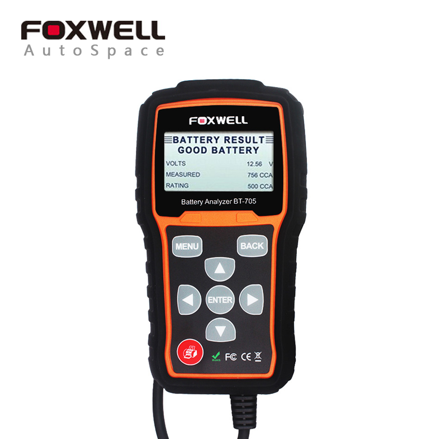 FOXWELL BT705 Auto 12V 24V Battery Tester Analyzer Check Battery Health Starting Charging System For AGM Spiral GEL Batteries hot sale free shipping super foxwell bt 705 battery analyzer foxwell bt705 car battery tester fast express shipping