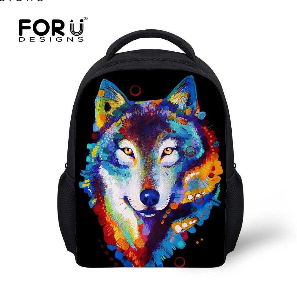 FORUDESIGNS Mini Children Backpacks 3D Tiger Wolf Small Bags For Kids Boys Bagpack Baby Kindergarten Toddler School Bag Mochilas