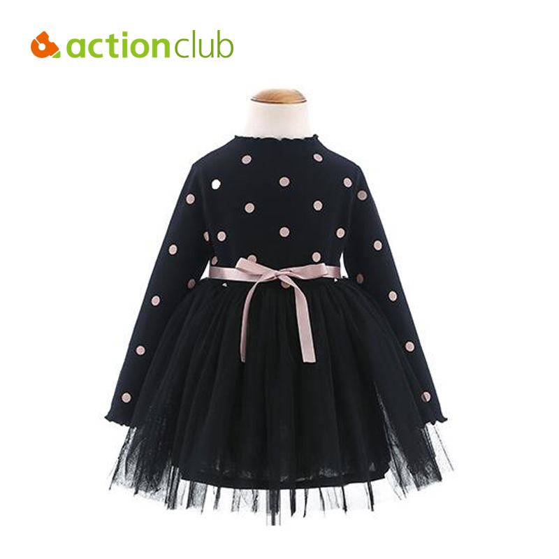 Baby Girl Dresses New Princess Lace Mesh Dress Long Sleeves Dots Autumn Winter Warm Thicken Ballet Kids Clothing