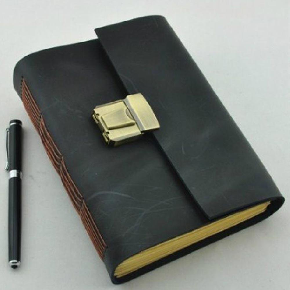 Äkta läder Journal tjock hemlig dagbok med lås- och lösenordskod - Block och anteckningsböcker - Foto 2