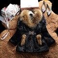 Abrigo de Piel de conejo Real Abrigos de Piel Para Las Mujeres 2016 Otoño Invierno La Venta de La marca de Piel con perro mapache cuello de piel Outwear Alta Calidad