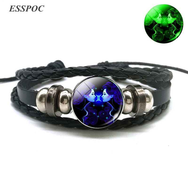 Aries Gemini Leo Libra Scorpio 12 Созвездие светящийся браслет кожаный Браслет Зодиак знаковые украшения браслет для мужчин и женщин