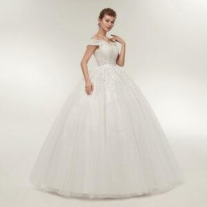 Image 2 - Fansmile Vestido de novia de talla grande, Encaje Vintage, Bola de tul, personalizado, Envío Gratis FSM 141F, 2020