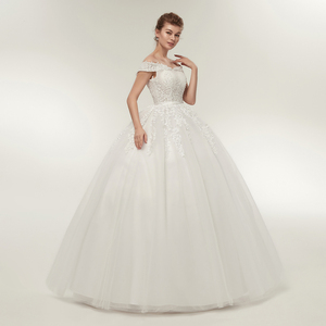 Image 2 - Fansmile vestido de noiva noiva laço do vintage tule bola vestidos de casamento 2020 plus size personalizado vestidos de noiva frete grátis FSM 141F
