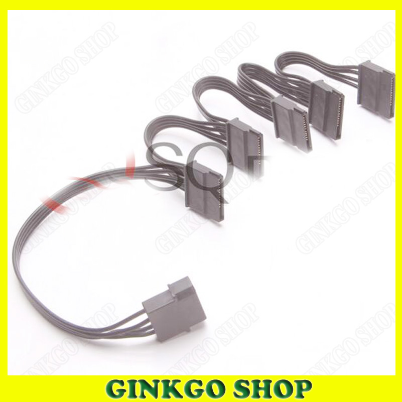 100pcs/lot New PC Server Hard Drive 4P IDE TO SATA Power Supply Cable SATA 1 TO 5 Splitter Power Cable 18AWG Wire