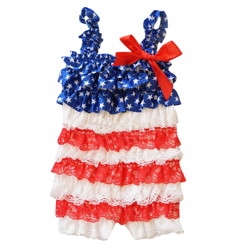 Infant Baby Girls Ruffle Lace Stars Print Striped Romper Jumpsuit Toddler Kids Sleeveless Sling Bow 4th Of July Outfit 0-3Y A20
