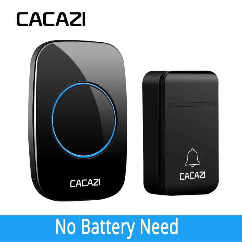 CACAZI Auto-Alimenté Pas de Batterie Sans Fil Sonnette Étanche Intelligent 200 m À Distance LED Home Calling Cloche 38 Anneaux 3 volume UE Plug