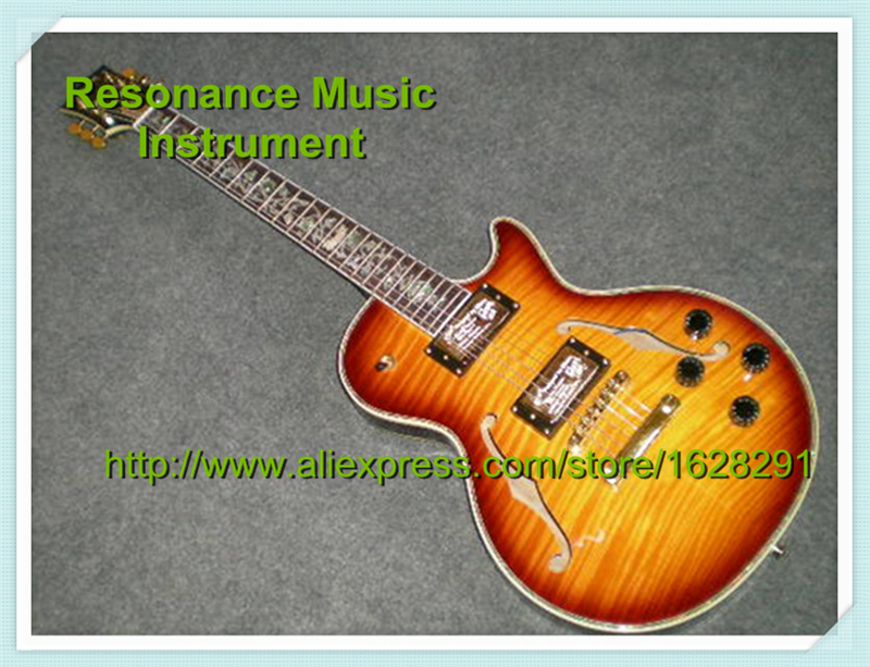 Chinese Cherry Sunburst Tiger Flame LP Custom Electric F Holes Hollow Body Guitar with Flower Inlay