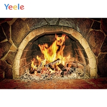 Yeele Merry Christmas Party Winter Fireplace Fire Photography Backdrop Baby Photo Background Custom Vinyl For Studio