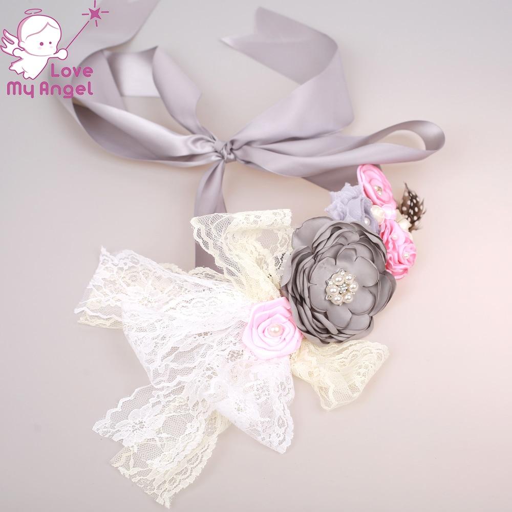 1 комплект серый пояс с цветочным узором и поясом; Одежда для новорожденных с цветочным рисунком, с поясом и повязка на голову; комплект одежды для беременных и матерей после родов детская подставка для фото душ пояс это девочка