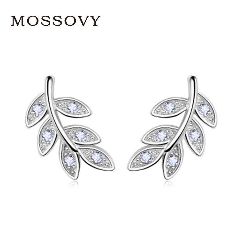 Mossovy Rhinestone Leaf Stud Earrings Anti-Allergy Exquisite Ear Ornaments  Zircon Earring Fashion Jewelry Bijoux Gift for Women bde9beddf95b