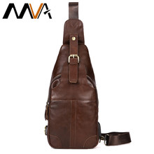 MVA Genuine Leather Bags USB Anti-theft Magnetic Clasp Crossbody Bags Men Shoulder Bag Chest Waist Pack Messenger Bag 8202(China)