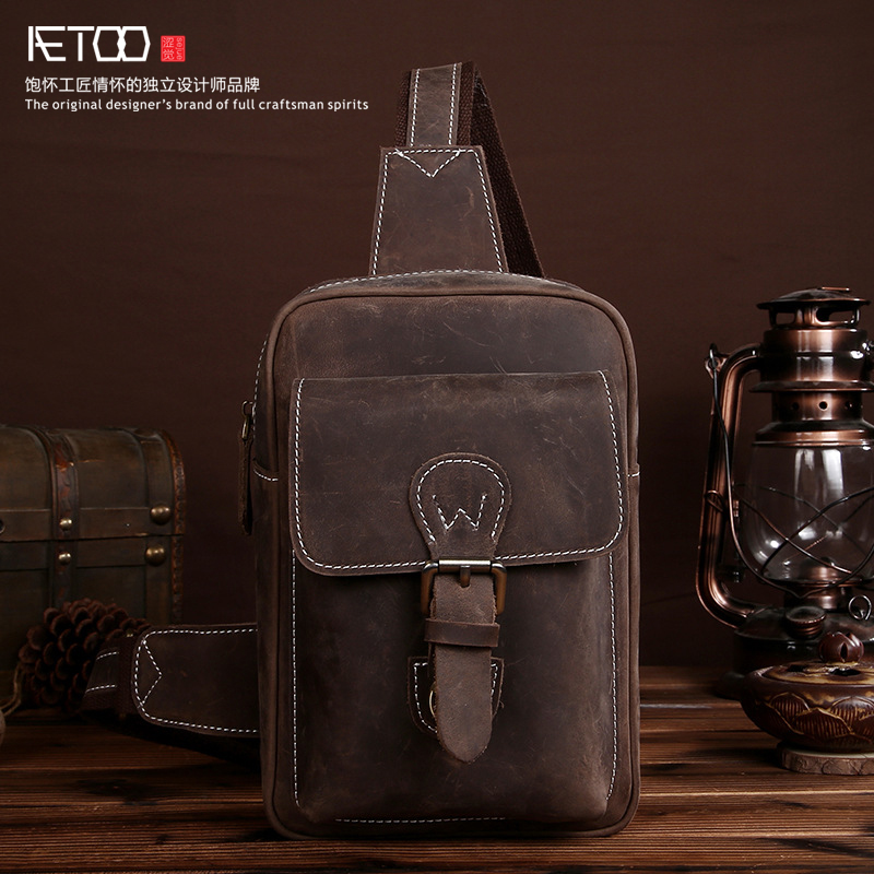 ФОТО The first layer of mad horse skin chest bag male retro handmade leather bag leather chest bag leisure Messenger bag
