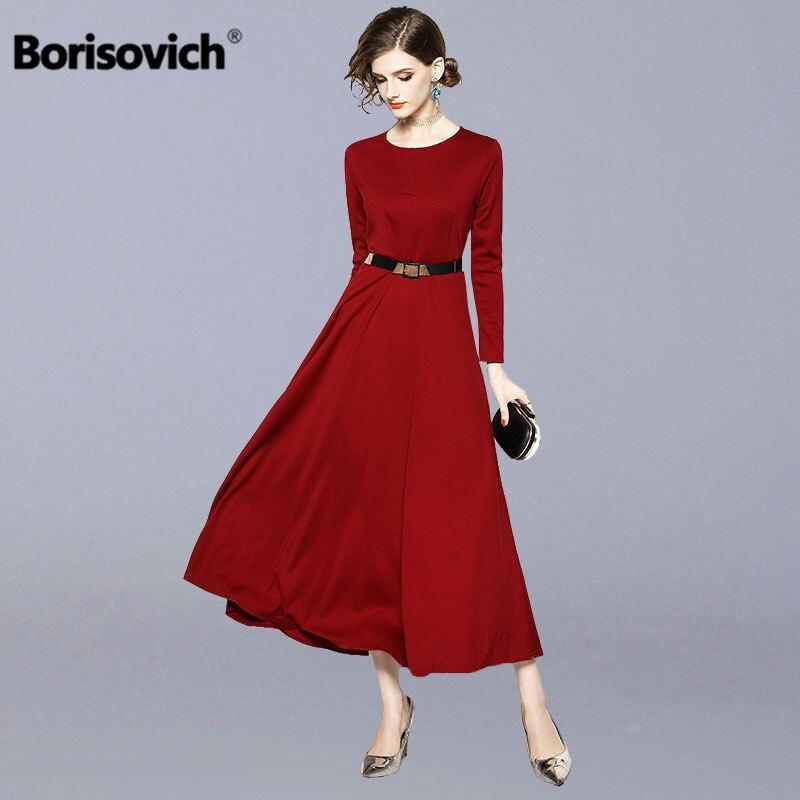 Borisovich femmes robe longue décontractée nouveau 2018 automne Vintage angleterre Style grand Swing élégant dames soirée robes M876