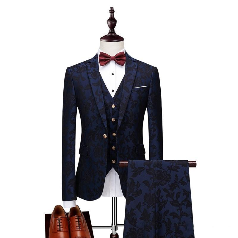 Men Suits With Print Brand Navy Blue Mens Floral Blazer Designs Mens Paisley Blazer Slim Fit Suit Jacket Men Wedding Tuxedos 3pc(China)