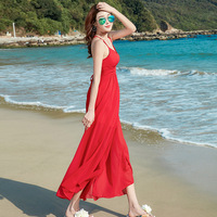 Women's pure color v neck condole chiffon dress Bohemian dress backless sea split beach dress