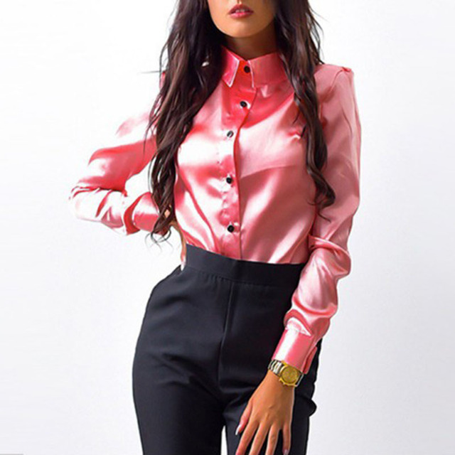 3719fc3e702b0 Women Office Blouse Wear to Work Business Lady Satin Faux Silk Shirt Long  Sleeve Shiny Collared Plain Top Blouse