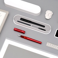 Metal Fountain Pen Ink Set Kaco F Nib 0.5mm Black Red Stainless Steel Nib Gift Pens Business Office Supplies Writing Stationery