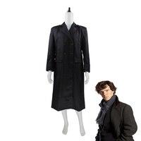 Sherlock Holmes Men Winter Warm Cape Coat Outfit Halloween Cosplay Costume Wool Version