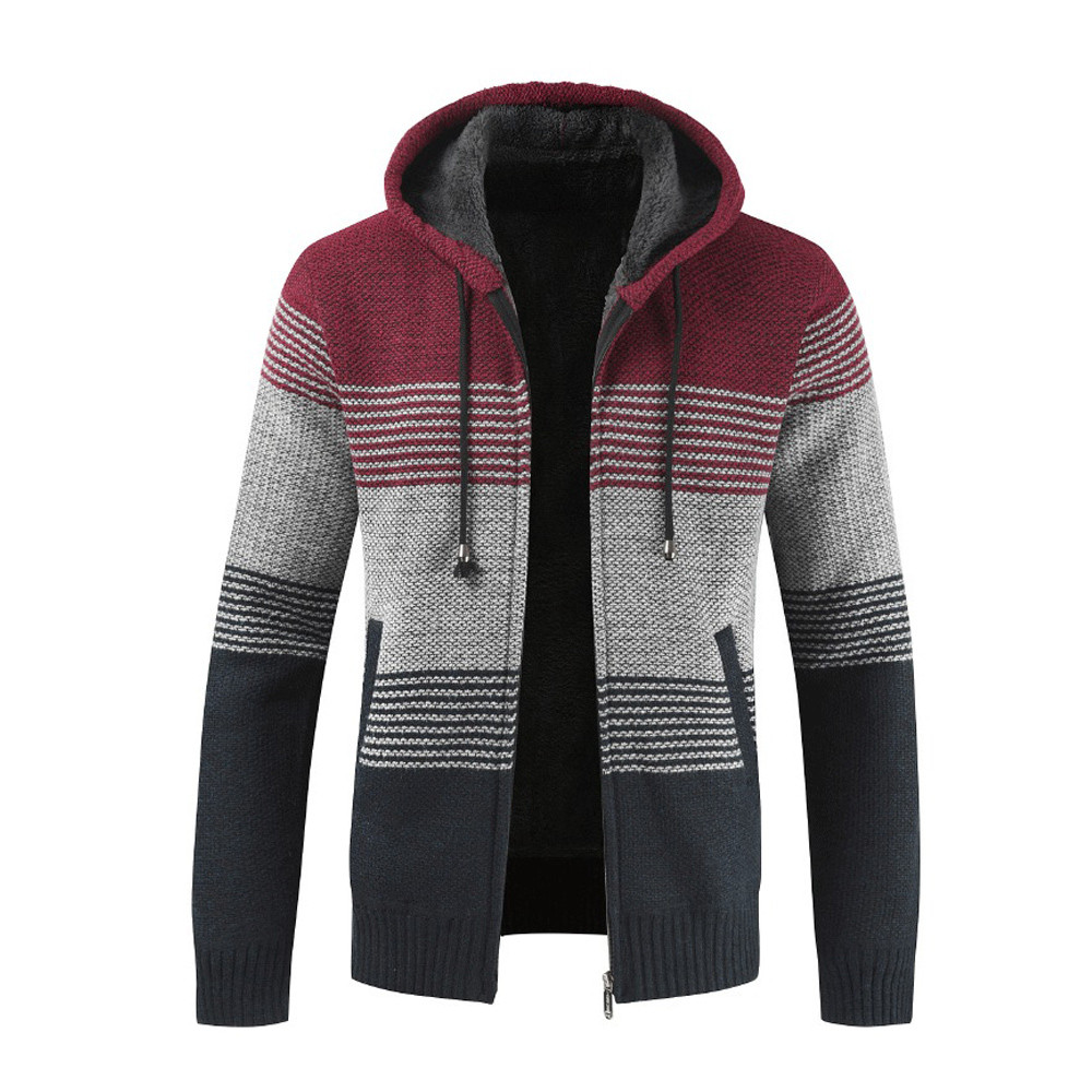 FeiTong Knitting Hoodie Sweatshirt Winter Streetwear Hoody Striped Sweat Pullover Zipper Hoodie Sweatshirts for Men Hip Hop