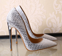 2016 newest knitted leather women pumps shiny high heels 10cm 8cm party shoes gold silver black wedding stilettos tenis feminino