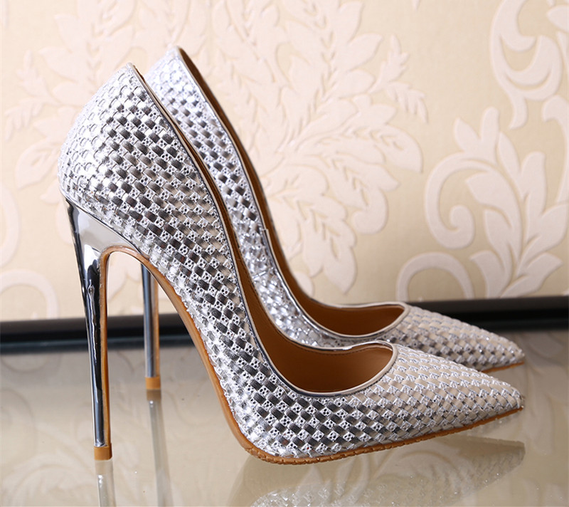 ФОТО Newest Knitted leather women pumps shiny high heels 12cm 10cm 8cm party shoes gold silver black wedding stilettos tenis feminino