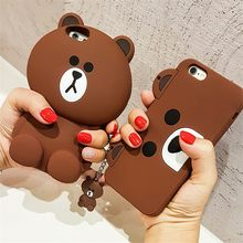 Cute Korean Cartoon Capa Case 3D Teddy Bear Coque Soft Silicon Phone Case For iPhone X 8 7 7Plus 5 5S SE 6 6S 6Plus Cover Fundas(China)