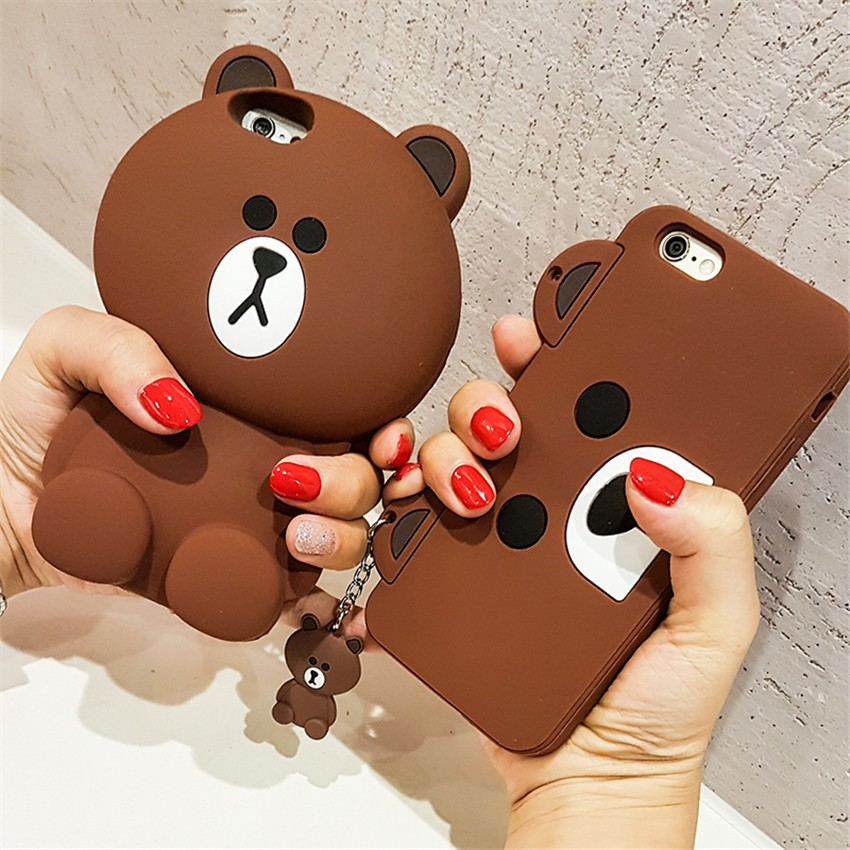more photos f7691 536d8 Cute Korean Cartoon Capa Case 3D Teddy Bear Coque Soft Silicon Phone Case  For iPhone X 8 7 7Plus 5 5S SE 6 6S 6Plus Cover Fundas