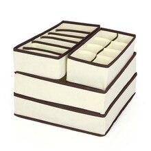 4 Pcs Set Unterwäsche Bh Veranstalter Lagerung Box Beige Schublade Schrank Organisatoren Boxen Für Unterwäsche Schals Socken Bh