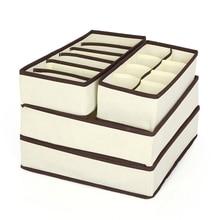 4 Pcs Set Underwear Bra Organizer Storage Box Beige Drawer Closet Organizers Boxes For