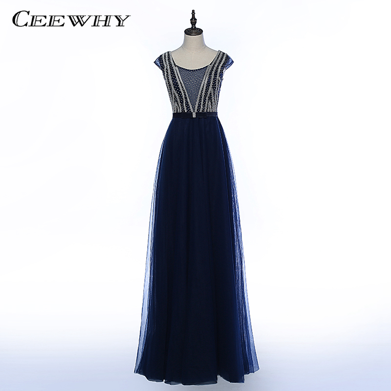 CEEWHY robe formelle longues robes de soirée cristaux perles robes de soirée robe de bal Abendkleid Lang Vestidos de Gala de Noche