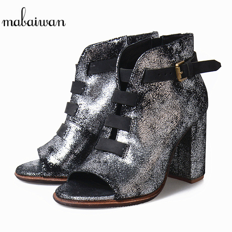 Mabaiwan New Women Ankle Boots Peep Toe High Heels Buckle Shoes Women Pumps Dress Shoes Gladiator Botines Mujer Summer Sandals