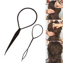 2 Pcs/lot Hair Braid Maker Ponytail Creator Plastic Loop Styling Tools Black Topsy Pony Tail Clip Styling Tool New(China)